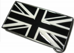 BLACK & WHITE UNION JACK FLAG BELT BUCKLE + display stand. Code AY3